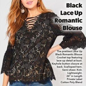 Black Lace Up Romantic Blouse